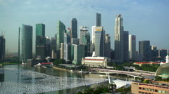 Singapore - September 2016: Waterfront view of Marina Bay Fullerton Hotel and Stock Footage
