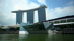 Singapore - September 2016: Waterfront view of Marina Bay Sands hotel Resort Stock Footage