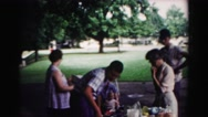 1962: picnic in forest area is seen HAGERSTOWN, MARYLAND Stock Footage
