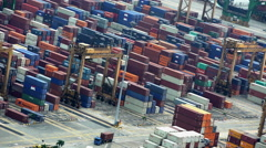 Singapore - September 2016: View of South East Asian shipping Container Port Stock Footage