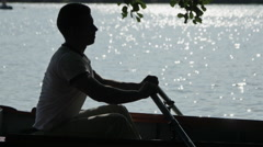 The guy Rowing the Oars on the River Stock Footage
