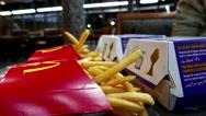 Close up fries and burgers at Mcdonald's restaurant Stock Footage