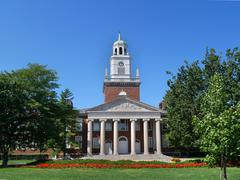 New England style college building with portico and columns Stock Photos