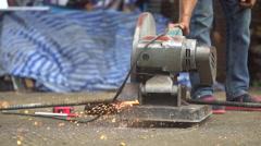 Cutting rebar slow motion Stock Footage