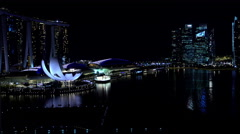 Singapore - September 2016: Night Waterfront illuminated view of Marina Bay Stock Footage