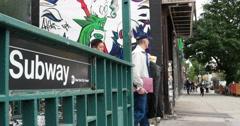 Manhattan New York City Subway Entrance 4K Stock Footage