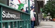 Manhattan New York City Subway Entrance 4K Stock Footage