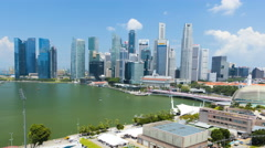 Singapore - September 2016: Time lapse Waterfront view of the Marina Bay Stock Footage