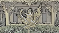 Wat Rong Khun. White Temple. Buddha. Buddhist temple. Chiang Rai. Color pencil. Stock Footage