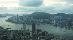 Hong Kong - September 2016: Time lapse view of Victoria Peak and Victoria Harbor Stock Footage