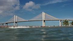 Natal bridge seen from water in Brazil Stock Footage