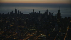 Aerial illuminated view at sunrise of Sears Tower Chicago city Skyscrapers Stock Footage