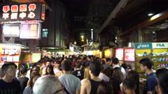 4k Taiwan Night Market Shilin. The Crowd people walking in the street-Dan Stock Footage