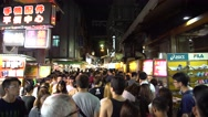 4k Taiwan Night Market Shilin. The Crowd people walking in the street-Dan Stock Footage