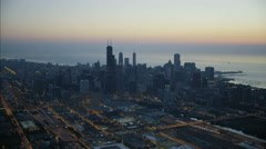 Aerial illuminated view at sunrise of Willis Tower Chicago city Skyscrapers Stock Footage