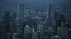 Aerial illuminated view at night of Trump Tower Chicago city Skyscrapers Stock Footage