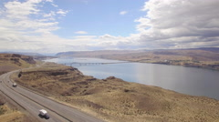 Aerial View from Wild Horse Lookout of Interstate 90 at Columbia River Stock Footage