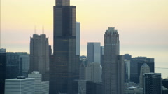 Aerial sunrise view of Chicago Illinois the Windy City Sears Tower Metropolitan Stock Footage