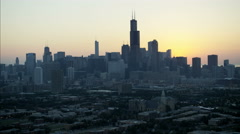 Aerial sunrise view of Chicago Illinois the Windy City Willis Tower Metropolitan Stock Footage