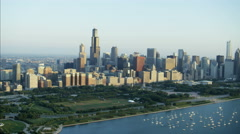 Aerial skyline view at sunrise of Lake Michigan boat Marina Sears Tower Chicago Stock Footage