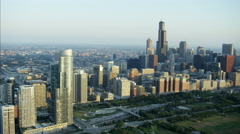 Aerial skyline view at sunrise of Willis Tower Chicago city Skyscrapers Downtown Stock Footage