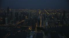 Chicago, USA - September 2016: Aerial night illuminated view of Lake Michigan Stock Footage
