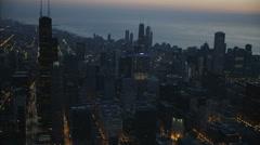 Chicago, USA - September 2016: Aerial sunrise illuminated Lake Michigan Chicago Stock Footage
