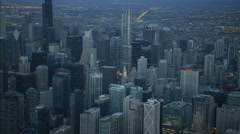 Chicago, USA - September 2016: Aerial illuminated view at sunrise of Trump Tower Stock Footage