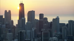 Chicago, USA - September 2016: Aerial view at sunrise of Lake Michigan Hancock Stock Footage