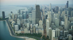 Chicago, USA - September 2016: Aerial view at sunrise of Lake Michigan Stock Footage