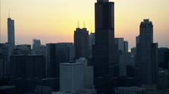 Chicago, USA - September 2016: Aerial view at sunrise of Trump Tower Stock Footage