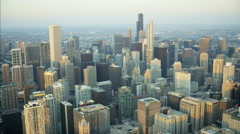 Chicago, USA - September 2016: Aerial view at sunrise of Hancock Center Sears Stock Footage