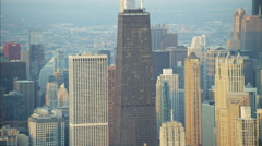 Chicago, USA - September 2016: Aerial view at sunrise of the Hancock Center Stock Footage