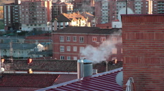 Building chimneys on the roofs Stock Footage