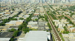 Aerial day view of Chicago Illinois the Windy City Metropolitan city skyline Stock Footage
