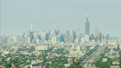 Aerial day view of Sears Tower Chicago Illinois Metropolitan Technology city Stock Footage