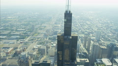 Aerial day view of Willis Tower Chicago River Illinois Metropolitan Technology Stock Footage