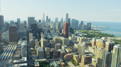 Aerial view of Lake Michigan Waterfront marina Grant Park Chicago Skyscraper Stock Footage