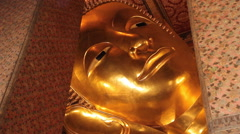 Reclining Buddha At Wat Pho Temple in Bangkok, Thailand Stock Footage