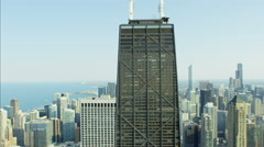 Aerial view of the Hancock Center Trump Tower Chicago Skyscraper buildings Stock Footage