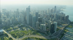 Aerial skyline view of Chicago Illinois Lakeshore Drive Millennium Park city Stock Footage