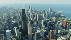 Aerial Lake Michigan day view of Chicago Illinois Willis Tower Waterfront Stock Footage