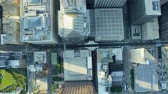 Aerial vertical overhead rooftop view of Metropolitan Chicago city Skyscraper Stock Footage