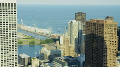 Aerial view of Lake Michigan Navy Pier Chicago Waterfront Hancock Center Stock Footage