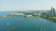 Aerial view of Lake Michigan Waterfront Adler Planetarium and marina Chicago Stock Footage