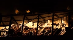 Fire at the industrial warehouse Stock Footage