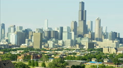 Aerial day view of Willis Tower Chicago Illinois Metropolitan Technology city Stock Footage