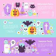 Trendy Halloween Web Horizontal Banners Stock Illustration
