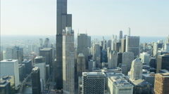 Chicago, USA - September 2016: Aerial day view of Sears Tower Chicago Illinois Stock Footage