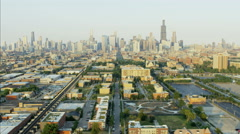 Aerial skyline view of Chicago Illinois the Windy City Metropolitan city Stock Footage